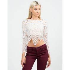 Floral Lace Crop Top ($37) ❤ liked on Polyvore featuring tops, women tops, white floral top, white lace top, white tops and white long sleeve top