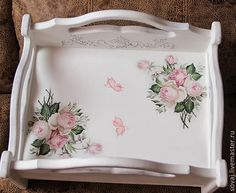 Decoupage Tutorial, Decoupage Box, Decoupage Vintage, Napkin Decoupage, Shabby Chic Pink, Vintage Shabby Chic, Shabby Chic Decor, Rustic Garden Decor, Painted Trays