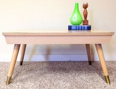 Vintage Mid Century Modern Coffee Table Small End Side Blonde Wood Formica