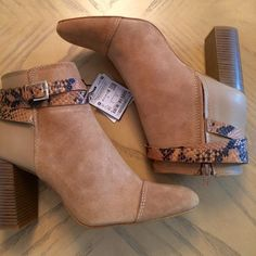 Zara Sand Color Leather Combo. Boot Strap Sand colored leather high heeled ankle boots. Combines different leather finishes, suede and nappa. Animal print embossed ankle straps with side buckle. 3 1/2 inch heel. Size 9 (40). Zara Shoes