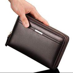Double Zipper Men Clutch Bags PU Men s Leather Wallet Men Handy Bag Male  Long Wallets Man 254408dfd3333