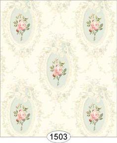 Wallpaper - Camilla Floral - Pink on Aqua 5:159