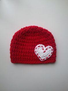 Crochet Valentine's Day Hat, Baby Valentine's Day Crochet Hat, Newborn Valentine's Day Photo Prop, Infant Valentine Hat, Valentine's Beanie by Hats4Brats on Etsy https://www.etsy.com/listing/213987330/crochet-valentines-day-hat-baby