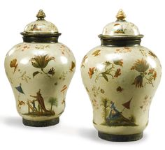 A pair of Italian chinoiserie lacquered terracotta vases and covers, probably Piedmontese, late 18th/early 19th century.
