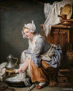The Laundress, painted by Jean Baptiste Greuze by WatzitztoCeska, via Flickr