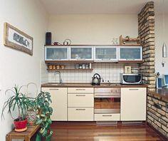 simple small studio apartment kitchen design with exposed brick ...
