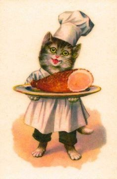 Vintage cat with a ... Ham
