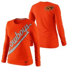 Nike Oklahoma State Cowboys Ladies Angled Script Long Sleeve Tri-Blend T-Shirt - Orange