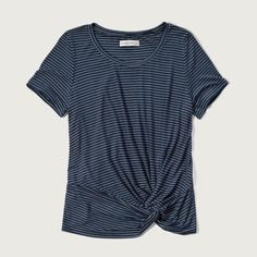 Abercrombie & Fitch Drapey Knot Front Tee ($28) ❤ liked on Polyvore featuring tops, t-shirts, navy stripe, blue tee, navy t shirt, navy tee, striped t shirt and navy blue t shirt