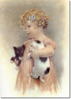 kitten & puppy by Bessie Pease Gutman