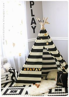 Adorable reading nook with teepee, pillows, art. She did a great job of personalizing a pre-made teepee. White Nursery, Girl Nursery, Girl Room, Diy Bett, Teepee Kids, Teepees, Baby Teepee, Toy Rooms, Baby Boy Nurseries