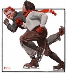 Skating Race - appeared on the cover of The Country Gentleman on 2/28/1920