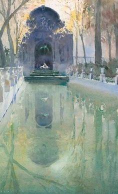 Michael Reardon WATERCOLOR Fontaine Medicis