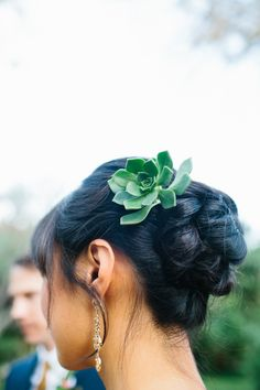 How pretty was this single succulent clipped into an updo? Have your bridesmaids wear the style if it doesn't fit your look. Wedding Hair Flowers, Wedding Hair And Makeup, Flowers In Hair, Bridal Hair, Wedding Beauty, Edgy Wedding, Bridal Makeup, Dream Wedding, Teal Wedding Decorations