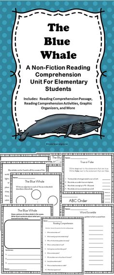 The Blue Whale - A non-fiction reading comprehension activity pack filled with lessons all about the blue whale.  #science #literacy #whales
