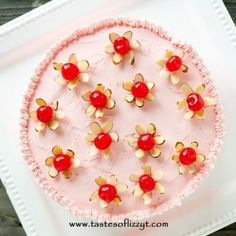 """Light, airy from-scratch maraschino cherry cakes with pink almond and cherry flavored buttercream. Top this cherry almond cake with simple little cherry """"flowers""""! Cherry And Almond Cake, Cherry Cake Recipe, Cherry Bread, Cherry Recipes, Almond Cakes, Cherry Desserts, Sweet Desserts, Delicious Desserts, Dessert Recipes"""