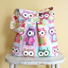 Large OWL Diaper Bag by PETUNIAS  hobo bag purse by PETUNIAS