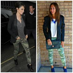Inspired by the photo on the left, we added a black blazer to our camo for fun outfit! The camo to the right is our CJ Jeans by Cookie Johnson printed camo leggings!