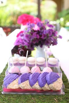 Purple party desserts- dip Rice Krispie bars in chocolate and then drizzle with purple icing.