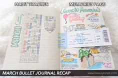 My March 2016 Bullet Journal Recap - Habit Tracker + Memories collections. My habits and highlights for the month.