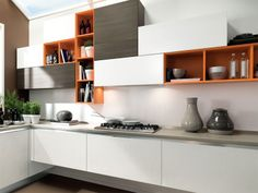 Lacquered wooden fitted kitchen Essenza Collection by Cucine Lube