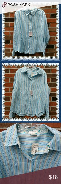 Van Heusen  shirt  XL  NWT Perfect shirt for work or play. Pointed collar  and a tapered fit. Cotton and spandex Van Heusen Tops Button Down Shirts