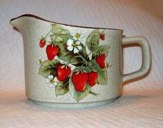 Vintage Ranmaru Glendale Strawberry Stoneware Pitcher Japan by TheAcornTreeAntiques on Etsy https://www.etsy.com/listing/242351266/vintage-ranmaru-glendale-strawberry