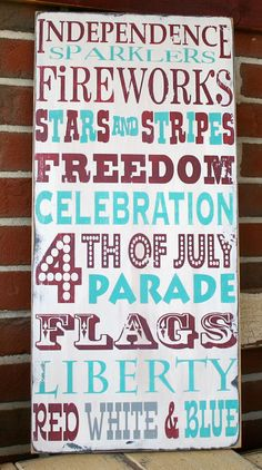 of July Typography Word Art Distressed Sign in Weather Worn White via Etsy Patriotic Crafts, Patriotic Decorations, July Crafts, Summer Crafts, 4th Of July Party, Fourth Of July, Distressed Signs, Happy Birthday America, Let Freedom Ring