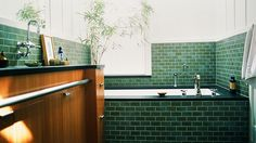 Everything You Need To Know About Bathroom Tile // green subway tile
