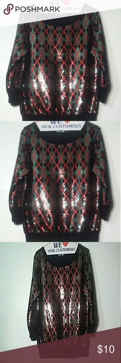 FUN FESTIVE SWEATER You can absolutely enjoy yourself in this sweater.  Simply gorgeous for holidays, parties.  Whatever this will make you ?. There is a close up of the pattern in picture #4. Excellent  condition.  Dry cleaned and ready for delivery. I have this as a junior med.  This is a little tight around arms. Express Sweaters Crew & Scoop Necks