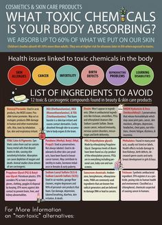 12 Toxic Ingredients Hiding In Cosmetics and Skin Care. Did you know we absorb up to of what we put on our skin? Toxins like parabens are hiding in cosmetics and skin care products. Learn which ones to avoid. Health And Nutrition, Health And Wellness, Health Tips, Health Fitness, Nutrition Articles, Health Benefits, Women's Health, Abundant Health, Health Chart