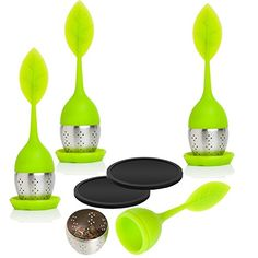 STYDDI Tea Infuser Set of 4x Silicone Green Leaf Handles With Stainless Steel Ball,4 Silicon Drip Trays And 2x Black Rubber Silicone Drink Coasters --Best for Loose Leaf or Herbal Tea * Click on the image for additional details.