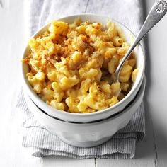 """Best Ever Mac & Cheese Recipe -To make """"best ever"""" mac, I make a sauce loaded with three different cheeses to toss with the noodles. When baked, it's ooey, gooey and cheesy good. And don't get me started on the crunchy topping! —Beth Jacobson, Taste of Home lead prep cook"""