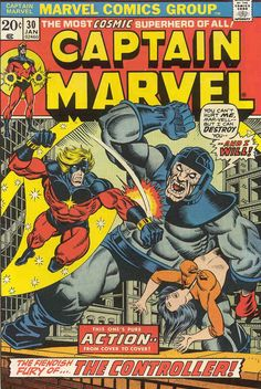 Captain Marvel marvel bronze age comic book cover art by Jim Starlin Marvel Comics, Marvel Comic Books, Comic Book Characters, Comic Character, Comic Books Art, Comic Art, Book Art, Marvel Characters, Power Girl