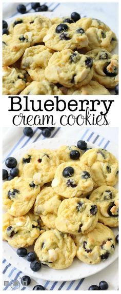 Blueberry Cream Cookies made with fresh blueberries folded into a lovely vanilla pudding cookie dough. Soft cookies with lovely bright, fresh flavor from blueberries. Vanilla Pudding Cookies, Blueberry Cookies, Blueberry Desserts, Yummy Cookies, Blueberry Recipes Fresh, Blueberry Pudding Cake, Fruit Cookies, Blueberry Bread, Mini Desserts