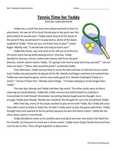 This Reading Comprehension Worksheet - Tennis Time for Teddy is for teaching reading comprehension. Use this reading comprehension story to teach reading comprehension. 6th Grade Reading, Reading Test, Student Reading, Teaching Reading, Reading Comprehension Worksheets, Reading Fluency, Reading Strategies, Reading Skills, English Stories For Kids