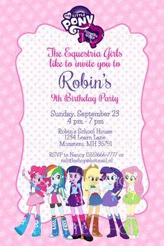 Equestria Girls inspired birthday invitation card by nslittleshop, $10.00