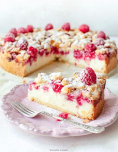 Raspberry Crumble, Recipies, Cheesecake, Deserts, Cooking Recipes, Sweets, Plating, Food, Interior