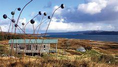 Danish Ceramic Artist Lotte Glob's house on the shores of Loch Eriboll, Scotland - the big garden is full of Lotte Glob's art