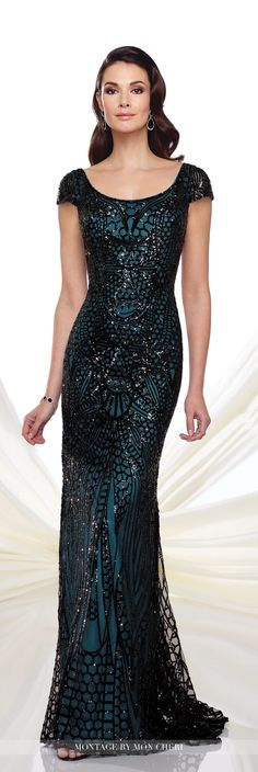 Formal Evening Gowns by Mon Cheri - Fall 2016 - Style No. 216972 - sequin evening dress with cap sleeves in black/teal