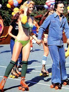 Hugh Hefner skates at a Playboy roller disco party, 1979. #HughHefner