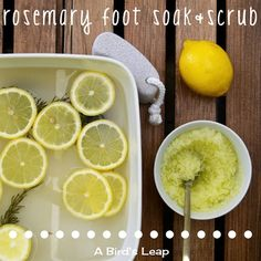 Are your feet winter dry? Try an at-home rosemary foot soak and scrub treatment. #feet #lemon