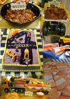 Fun ways to display construction themed birthday party food - printables from birthdayexpress.com