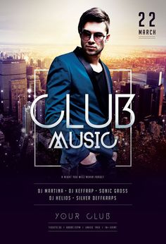Club Music Flyer by styleWish (PSD template on Graphicriver). Urban poster design of a city to promote a club, party or music event. Event Poster Design, Creative Poster Design, Creative Posters, Graphic Design Posters, Web Design, Game Design, Club Poster, Party Poster, Club Flyers