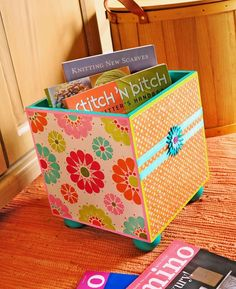 DIY Decorative Storage Box Ideas Mod Podge DIY storage bin  Jen, attach one board game board on each side of a box....can even glue pieces on if we want...
