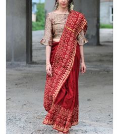 Maroon Bordered Block Printed Pure Chanderi Saree
