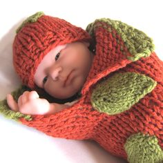 Thanksgiving Knitting -  Easy Pumpkin Cocoon Pattern + Knitted Leaf Tutorial - Very Fast & Easy!