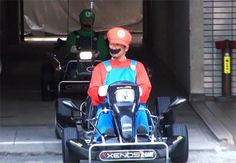 Real life Mario Kart brothers take over the streets of Tokyo