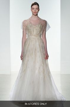 Amsale 'Elaine' Organza Overlay Strapless Hand Beaded TulleGown (In Store Only) available at #Nordstrom