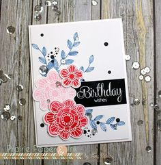 Floral birthday wishes using the Simon Says Stamp card kit!